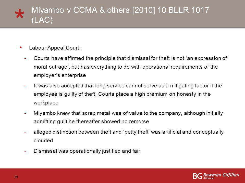 Miyambo v CCMA & others [2010] 10 BLLR 1017 (LAC)